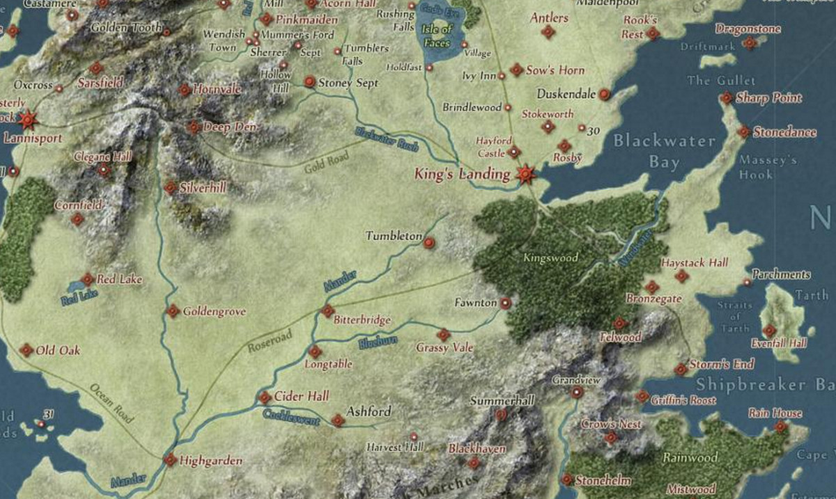Map of 'Game of Thrones' universe showing King's Landing and Blackwater Bay