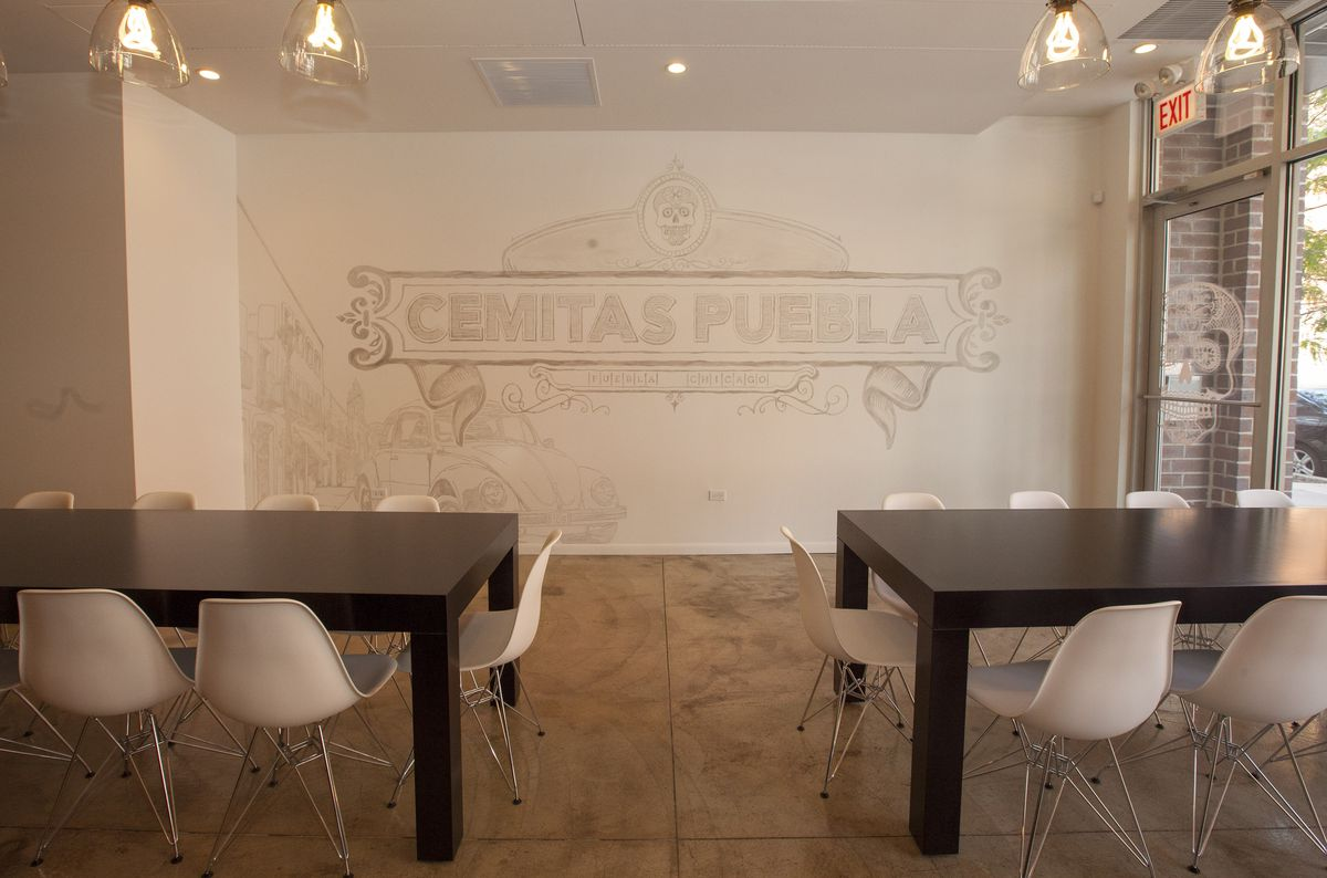 The inside of a Mexican sandwich restaurant