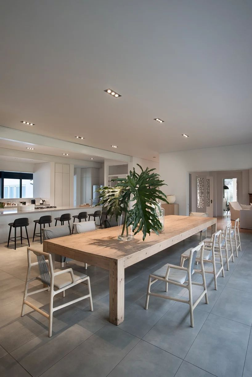 Large timber table in dining area