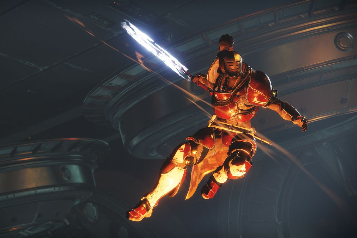 Destiny 2 - Guardian leaping into the air