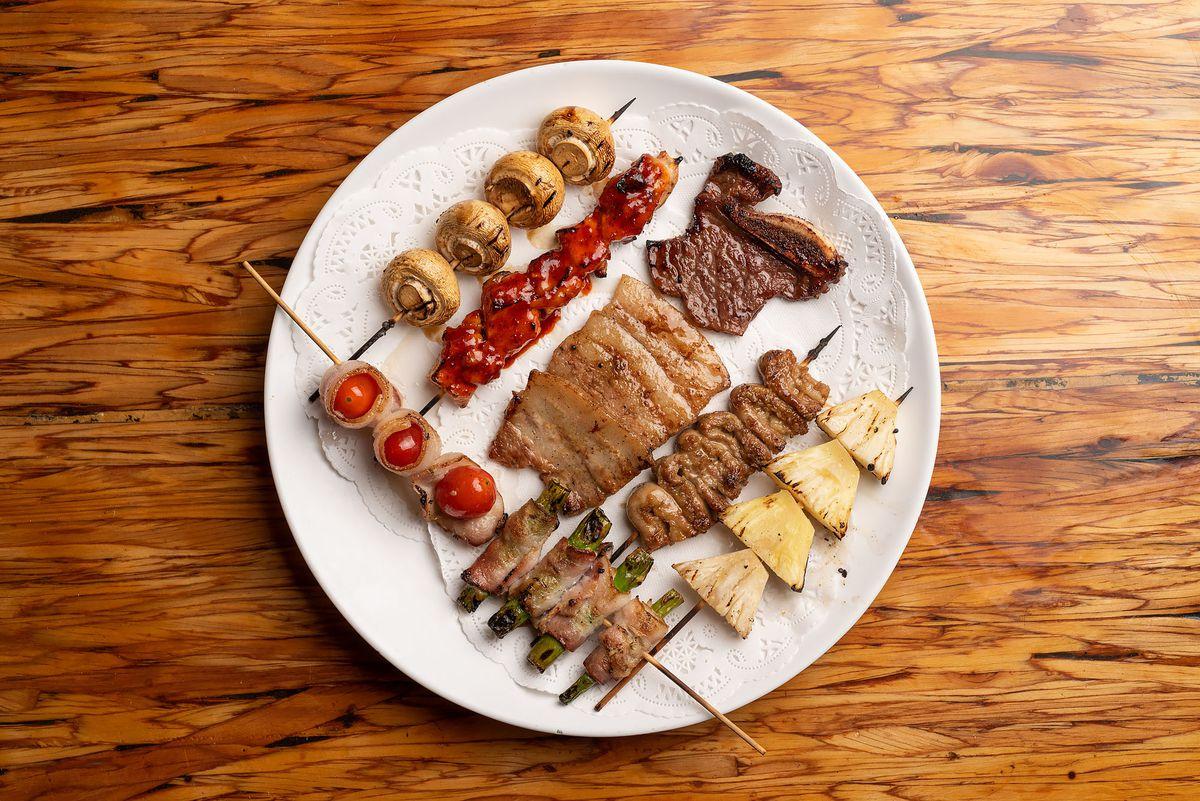 Meat, veggie, and fruit skewers at Dan Sung Sa.