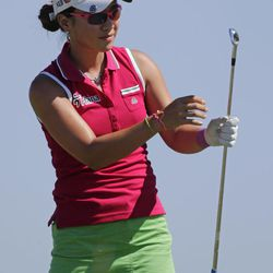 Hee Young Park, of South Korea, watches her tee shot on the second hole during final round play in the Navistar LPGA Classic golf tournament on Sunday, Sept. 23, 2012, at the Robert Trent Jones Golf Trail in Prattville, Ala.