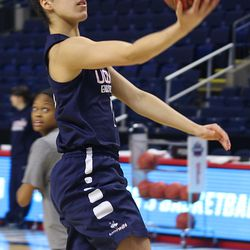 UConn's Kia Nurse lays the ball in during practice.