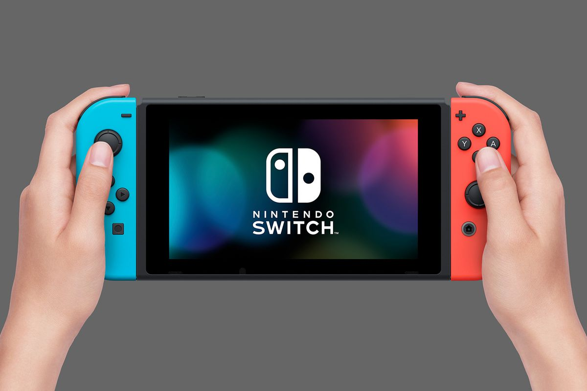 Nintendo Switch with neon blue / red Joy-Con