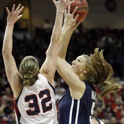 Brigham Young Cougars center Jennifer Hamson (5) shoots over Gonzaga Bulldogs forward Kayla Standish (32)  in the West Coast Conference finals in Las Vegas  Monday, March 5, 2012.  BYU won the title and will advance to the NCAA tournament.
