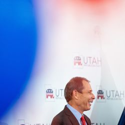 Rep. John Curtis, R-Utah, who will retain his 3rd Congressional District seat, speaks at an election night event for Republican candidates in at the Utah Association of Realtors building in Sandy on Tuesday, Nov. 3, 2020.