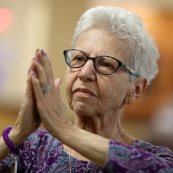 Alzheimer patient Anita Musto participates in Tai Chi at Sagewood at Daybreak Assisted Living in South Jordan on Tuesday, Aug. 9, 2016.