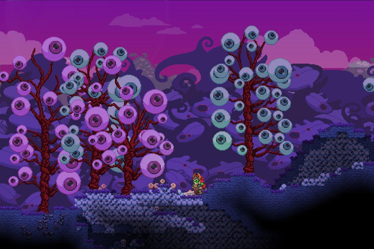 A screenshot of Starbound full of eyeballs