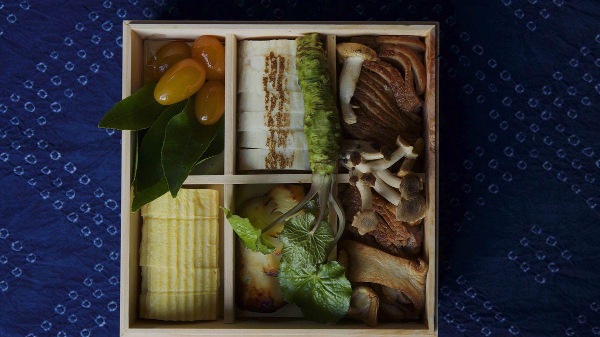 A view inside the 2013 version of chef Sylvan Mishima Brackett's osechi bento box