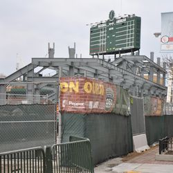 Another look north on Sheffield at the expanded right field bleachers -
