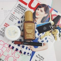 """I went running at <b>Equinox</b> this morning so I did my """"makeup"""" at my desk. I use the word lightly because it's just this bronzing serum that one of our beauty editors, Megan O'Neill,  gave me, and <b>Nars</b> Satin Lip Pencil in Het Loo—a cool 90's br"""