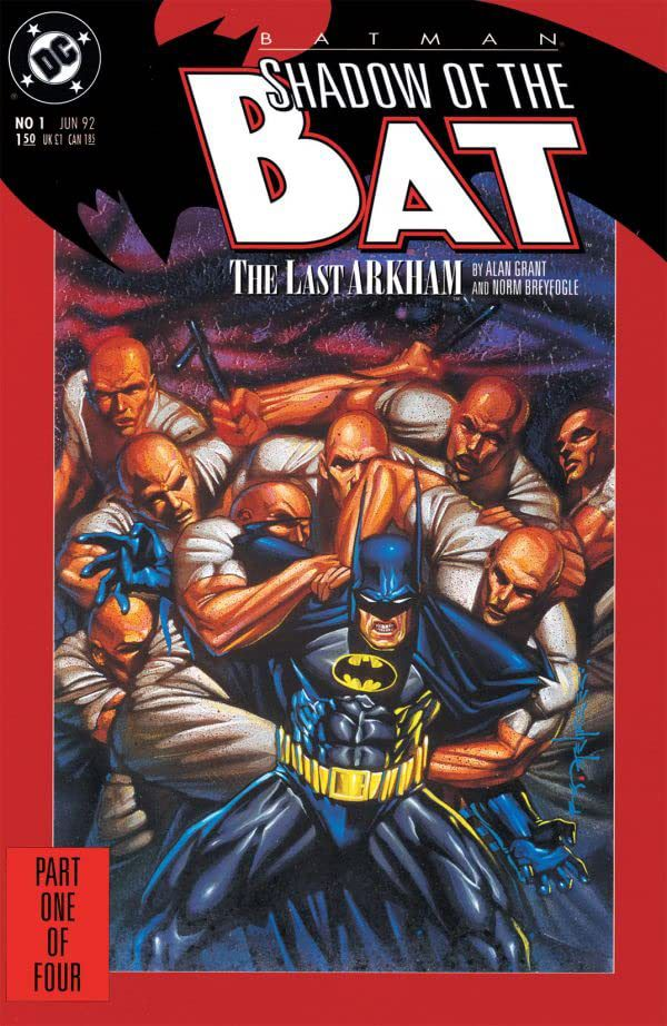 Batman struggles against the arms of a horde of interchangable orderlies on the cover of Shadow of the Bat #1, DC Comics (1992).