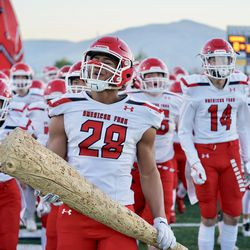 American Fork's Bodie Schoonover (28) was rated a three-star linebacker prospect by 247 Sports. He will serve a two-year mission for The Church of Jesus Christ of Latter-day Saints before playing for BYU.