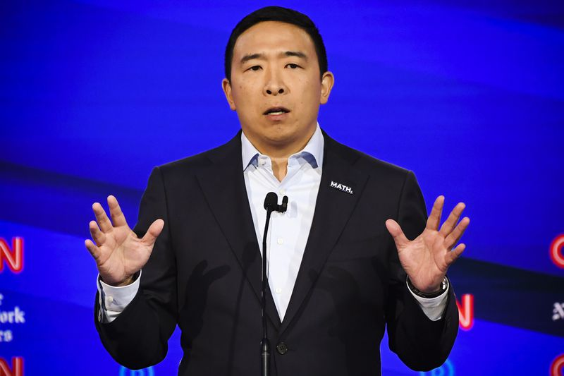 Entrepreneur Andrew Yang speaks onstage during the fourth Democratic primary debate of the 2020 presidential campaign season.