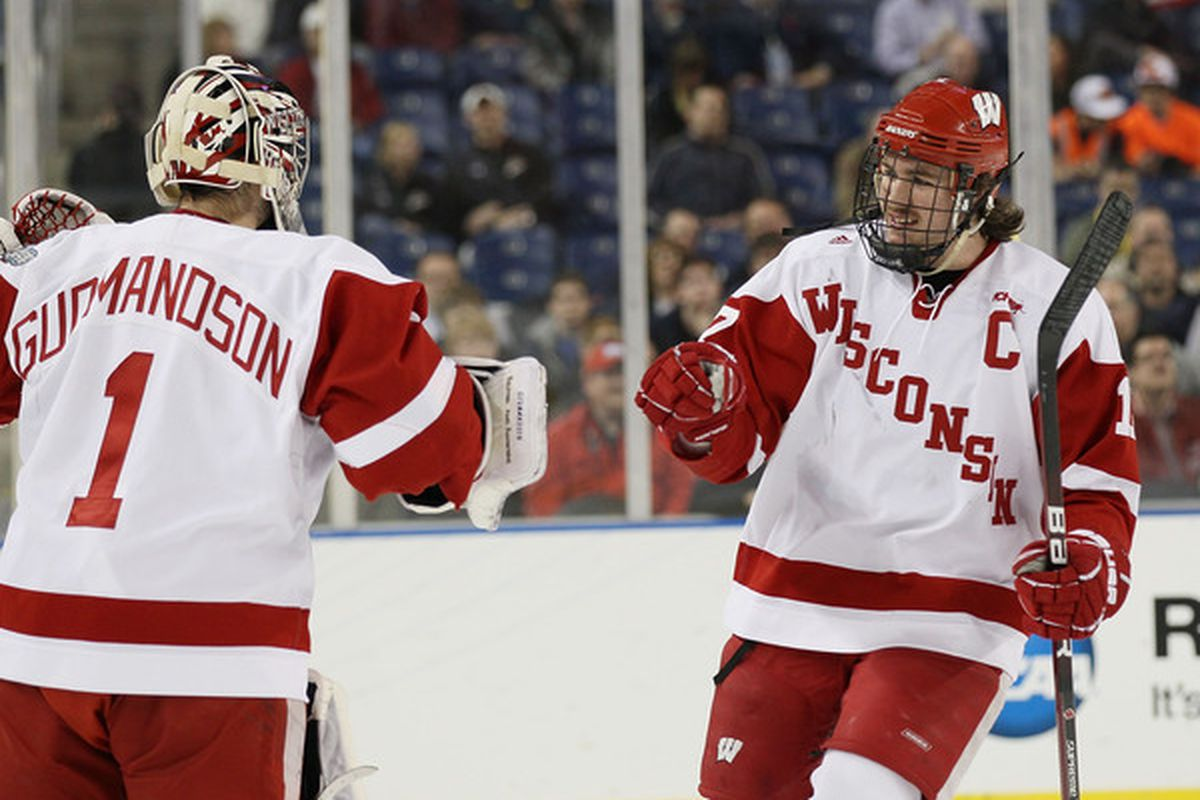 Ryan McDonagh #17 of the Wisconsin Badgers celebrates a goal.  (Photo by Elsa/Getty Images)