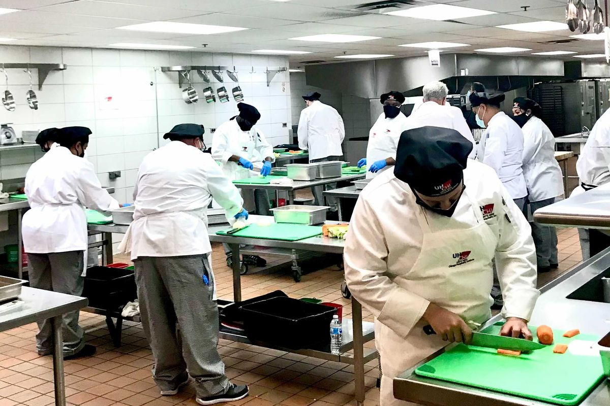 Culinary students work during the first class on Monday April 19, 2021 at the McCormick Place.