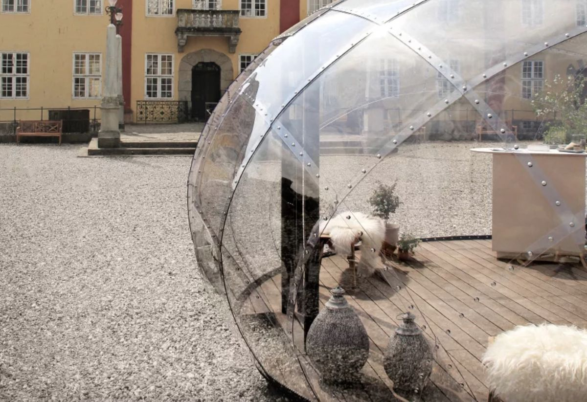 Dome made from translucent plastic