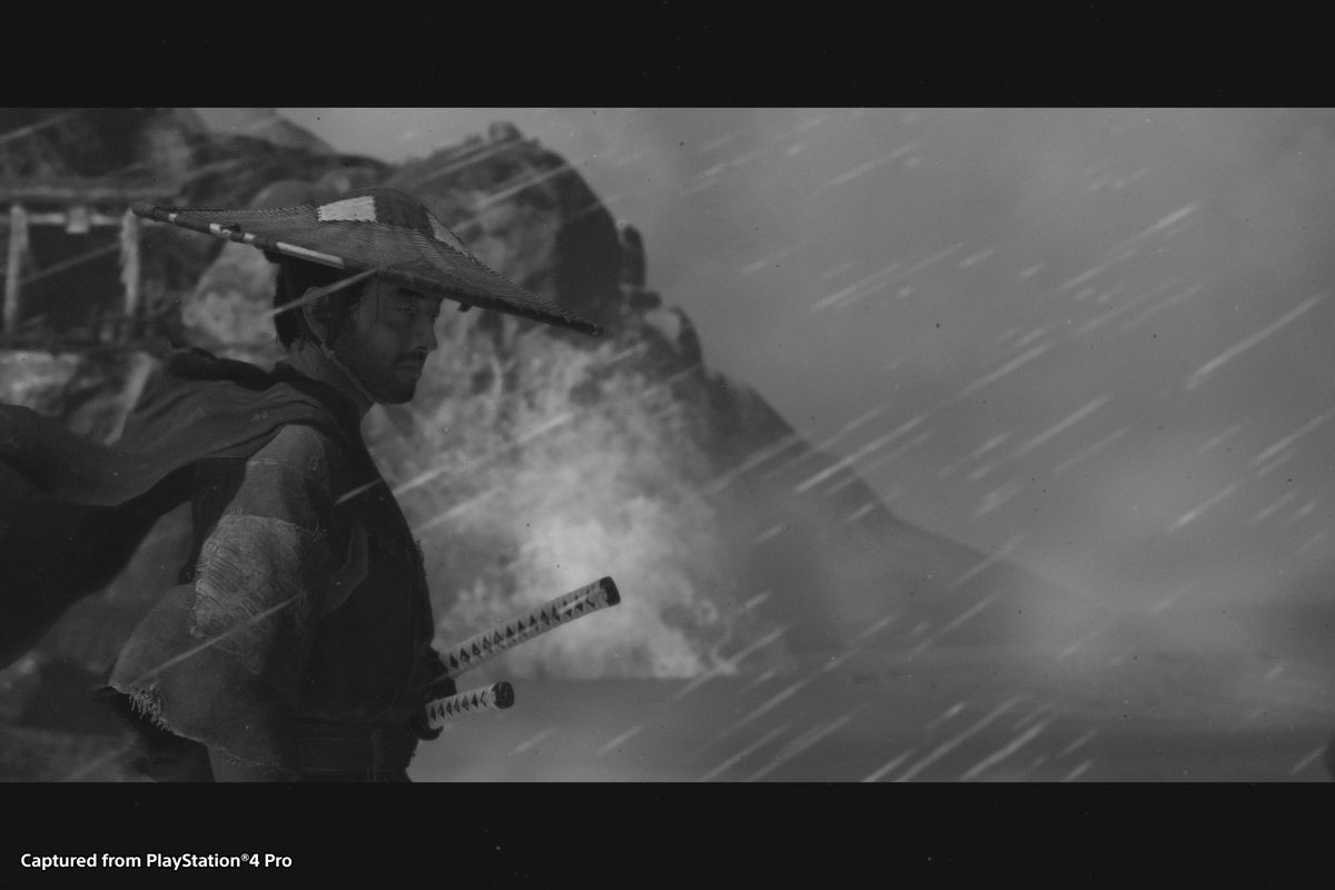 A black and white screenshot of Ghost of Tsushima