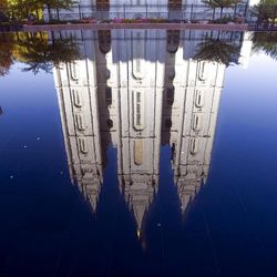 Reflection of the Salt Lake Temple during the Saturday morning session of General conference Saturday, Oct. 6, 2012.