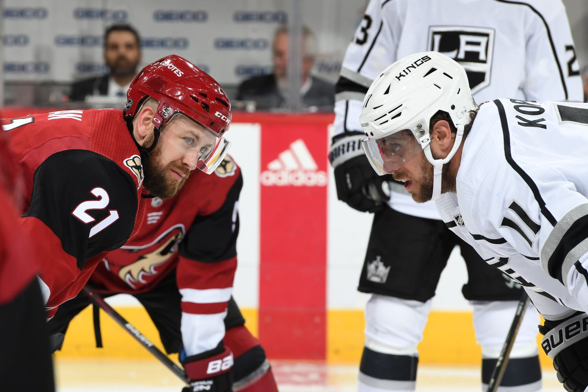 Derek Stapan #21 of the Arizona Coyotes gets ready to take a face off against Anze Kopitar #11 of the Los Angeles Kings at Gila River Arena on January 30, 2020 in Glendale, Arizona.