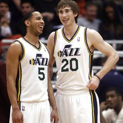 Utah Jazz guard Devin Harris (5) and Utah Jazz guard Gordon Hayward (20) have a laugh during a time out as the Utah Jazz and the Golden State Warriors play Friday, April 6, 2012 in Salt Lake City. Jazz won 104-98.