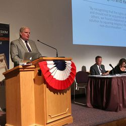 """Michael Purdy of LDS Church Public Affairs speaks during a session on """"Working With State and Local Governments on Religious Freedom Issues"""" during the BYU law school conference on religious freedom, """"Fairness For All,"""" July 6, 2015, in Provo."""