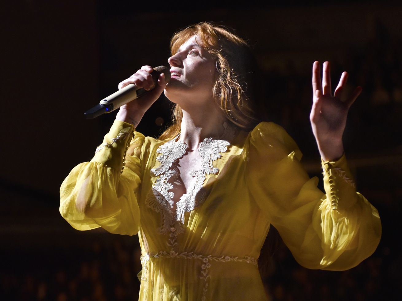 Florence Welch of Florence + The Machine performs during the High As Hope Tour in Chicago in 2018.