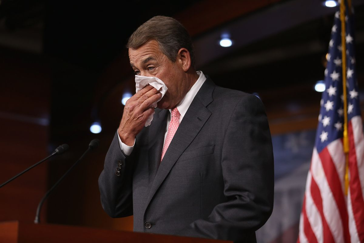 Speaker of the House John Boehner (R-OH) announces that he is retiring from the House and stepping down as Speaker at the end of October during a news conference at the US Capitol September 25, 2015, in Washington, DC.