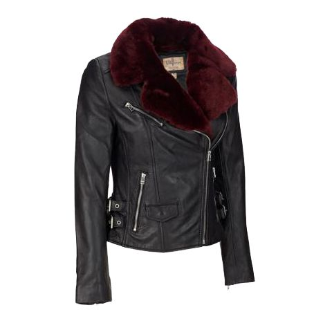 Leather jacket with red faux fur collar