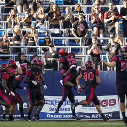 San Diego State players celebrate after San Diego State running back Jordan Byrd (15) scored a touchdown during the first half of an NCAA college football game against Utah Saturday, Sept. 18, 2021, in Carson, Calif.