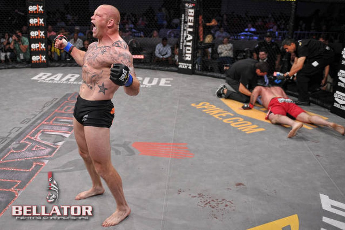 Bellator light heavyweight contender Travis Wiuff celebrates after defeating Chris Davis at Bellator 71. Photo via Bellator.