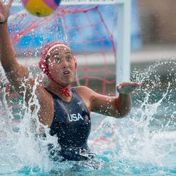 Tumua Anae reaches for a ball during a game. Anae is vying for a goalkeeper position on the 2012 USA Olympic team.