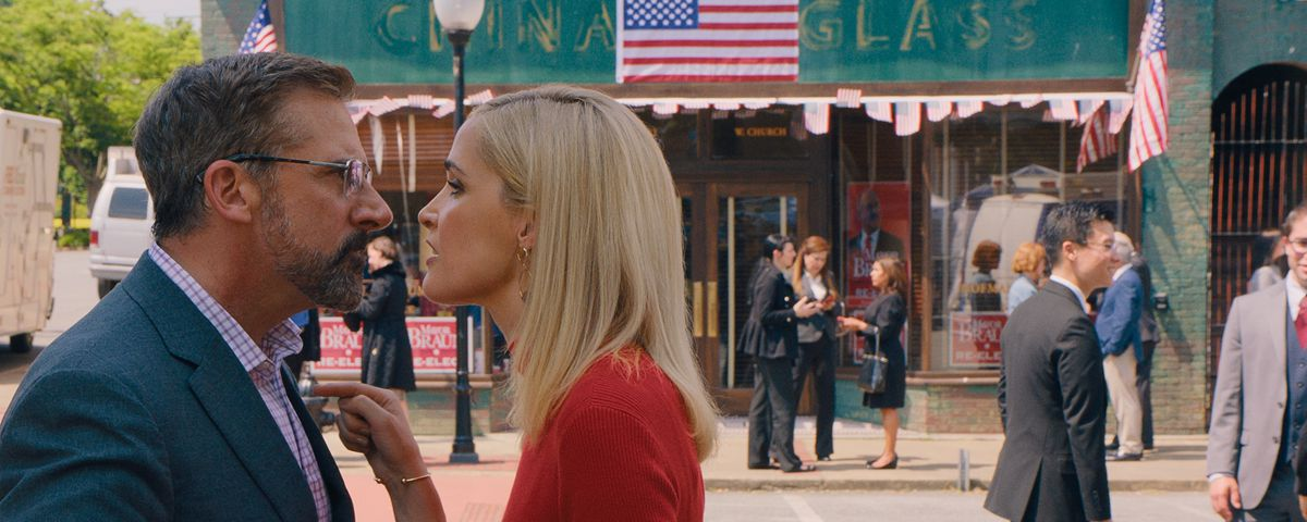 Steve Carell and Rose Byrne confront each other nose-to-nose on an American-flag-bedecked street in Irresistible