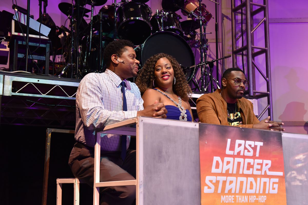 """Andre Teamer (from left), Shari Hamilton and Deverin Deonte' are the contest judges in """"Last Dancer Standing (More Than Hip-Hop)"""" at the Black Ensemble Theater.   Michael Courier"""