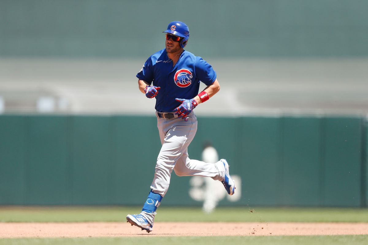 Patrick Wisdom #16 of the Chicago Cubs rounds the bases after hitting a two-run home run in the top of the fourth inning against the San Francisco Giants at Oracle Park on June 06, 2021 in San Francisco, California.