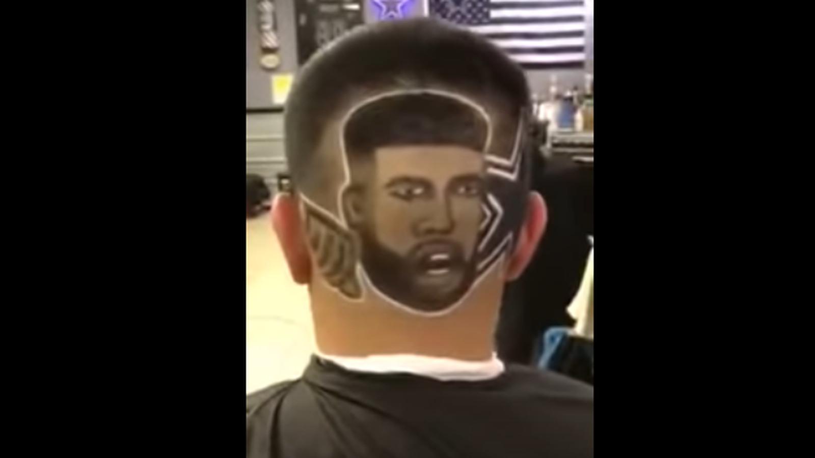 Cowboys Fan Gets Ezekiel Elliott S Face Shaved In His Hair