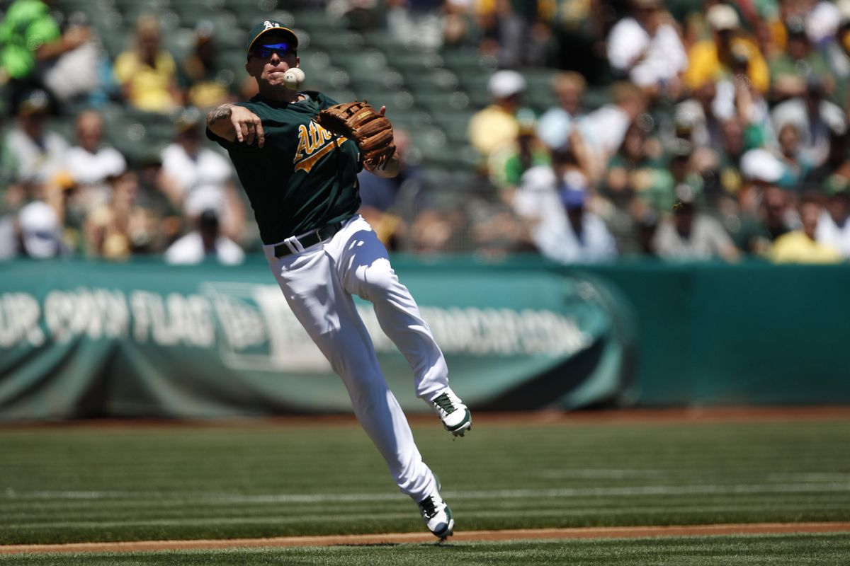 August 1, 2012; San Francisco, CA, USA; Oakland Athletics third baseman Brandon Inge throws to first base for an out during the first inning against the Tampa Bay Rays at O.co Coliseum. Mandatory Credit: Beck Diefenbach-US PRESSWIRE