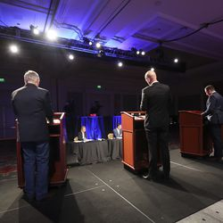 Republican primary gubernatorial candidates take the stage prior toa virtual forum at the Grand America Hotel in Salt Lake City on Thursday, May 7, 2020.