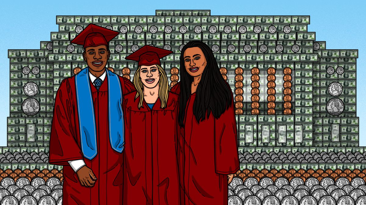 Three students in graduation caps and gowns stand in front of a college building rendered in dollar bills and coins.