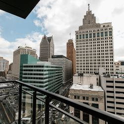 This corner unit had a small outdoor balcony with ridiculous views of prime Detroit architecture.