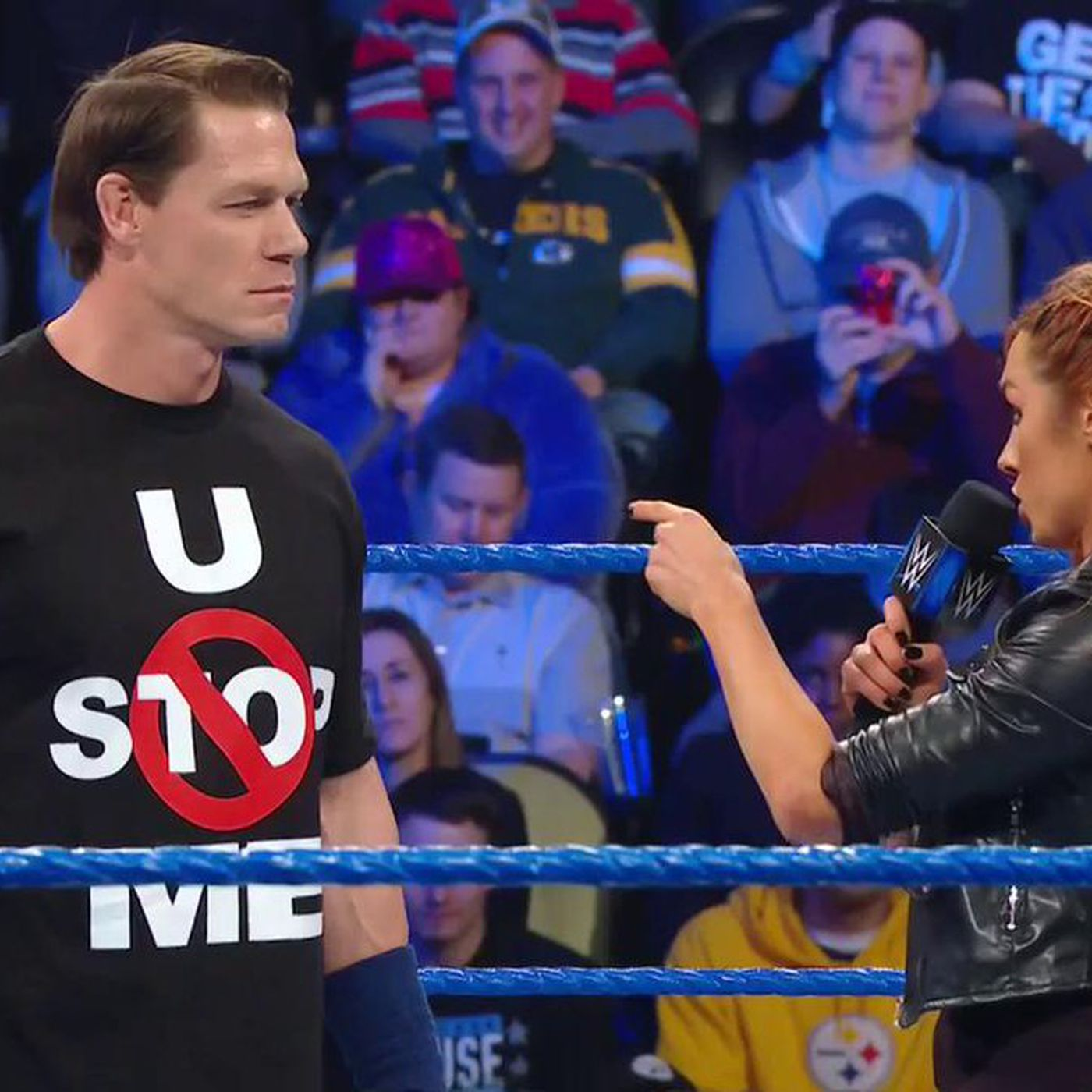 Becky Lynch Welcomes John Cena Back To Smackdown Cageside