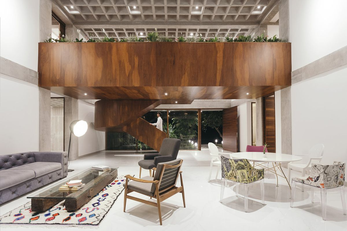 Interior of house with white floors