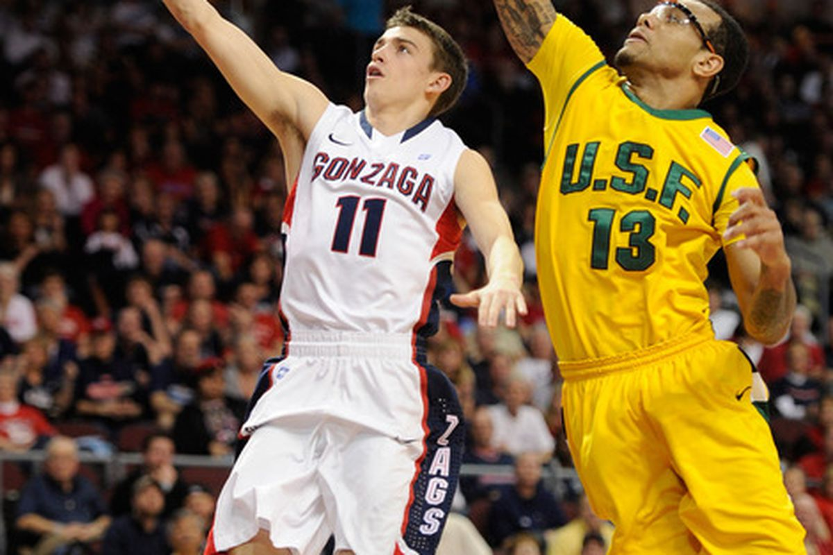 David Stockton played some big minutes tonight as the Zags took down the Dons.  (Photo by Ethan Miller/Getty Images)