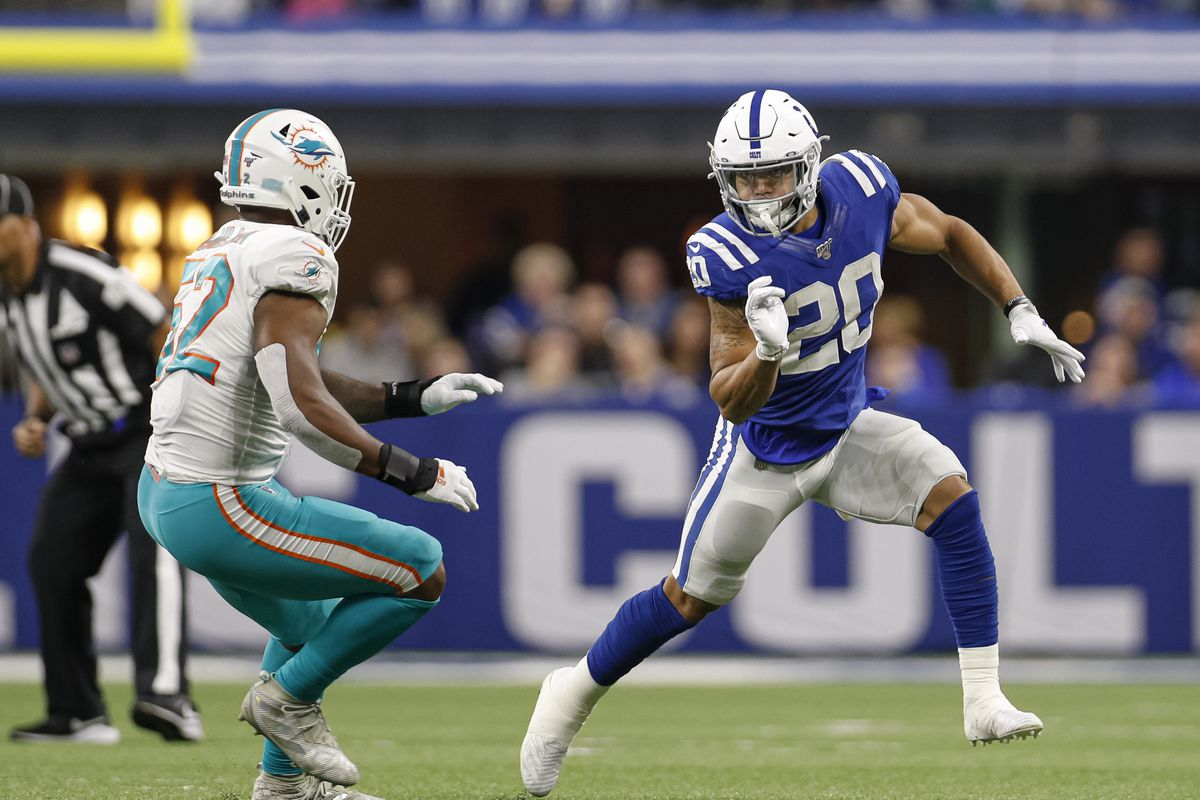 Jordan Wilkins of the Indianapolis Colts runs out to block during the game against the Miami Dolphins at Lucas Oil Stadium on November 10, 2019 in Indianapolis, Indiana.