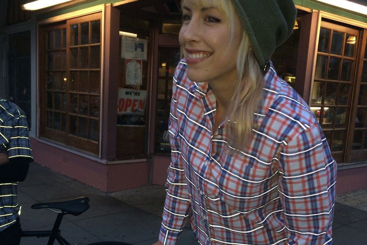 """Image via <a href=""""http://www.betabrand.com/collections/bike-to-work/womens-reflective-plaid-bike-to-work-shirt.html"""">Betabrand</a>"""