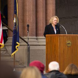 Salt Lake Mayor Jackie Biskupski speaks at a ceremony outside the City-County Building Monday, Jan. 4, 2016.