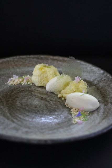Olive oil chiffon with spruce tip mousse at Cafe Juanita