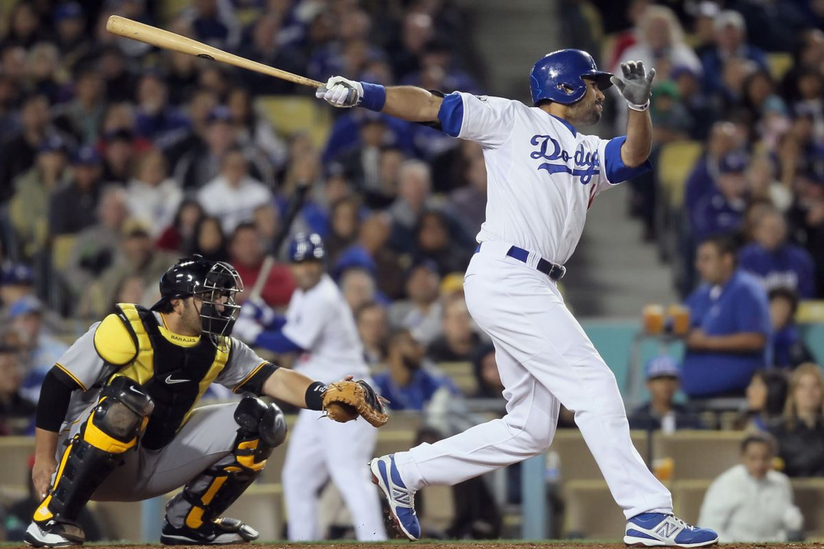 LOS ANGELES, CA - APRIL 11:  Andre Ethier #16 of the Los Angeles Dodgers hits an RBI single against the Pittsburgh Pirates in the sixth inning at Dodger Stadium on April 11, 2012 in Los Angeles, California.  (Photo by Jeff Gross/Getty Images)
