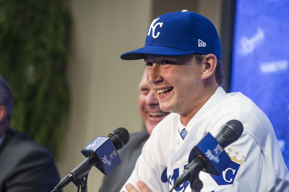 The 2018 Kansas City Royals first-round pick pitcher Brady Singer smiles during a press conference before the game between the Cleveland Indians and the Kansas City Royals at Kauffman Stadium on July 3, 2018 in Kansas City, Missouri.