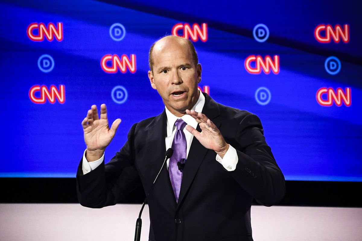 Democratic presidential hopeful former Representative for Maryland's 6th congressional district John Delaney participates in the first round of the second Democratic primary debate on July 30, 2019.